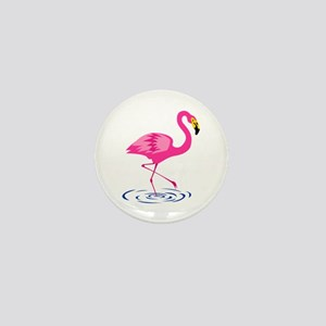 Pink Flamingo on One Leg Mini Button