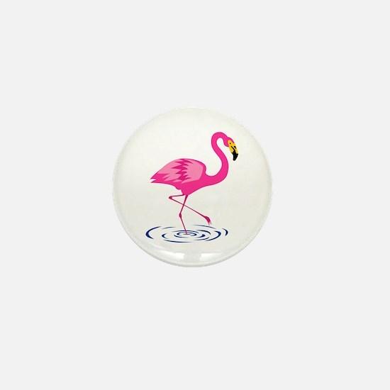 Pink Flamingo on One Leg Mini Button