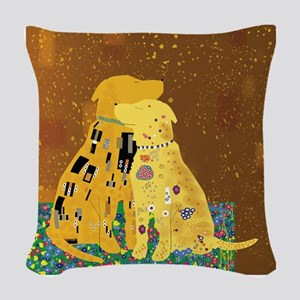 Klimt's Kanines Woven Throw Pillow
