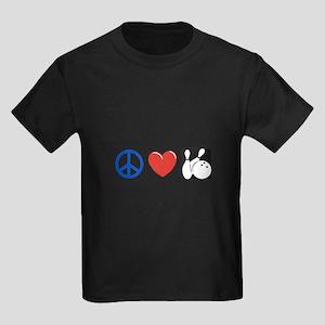 Peace. Love, Bowling Kids Dark T-Shirt