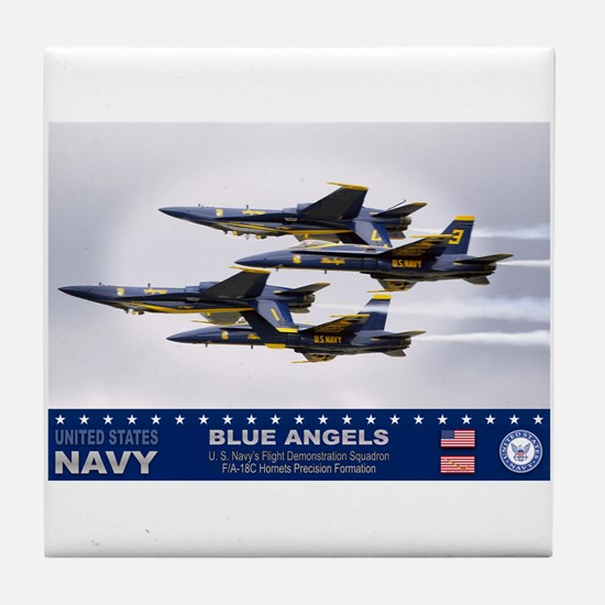 Blue Angels F-18 Hornet Tile Coaster