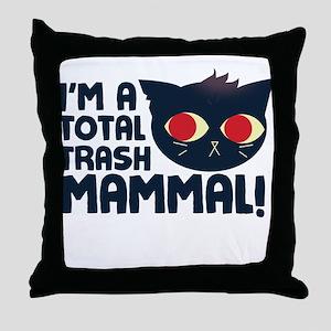 Hello, I am a Total Trash Mammal Throw Pillow