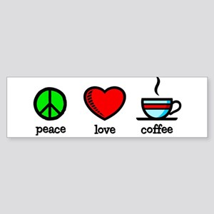 Peace, Love and Coffee Bumper Sticker