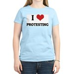 I Love Protesting Women's Pink T-Shirt