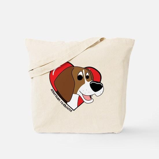 Cartoon Love American Foxhound Tote Bag