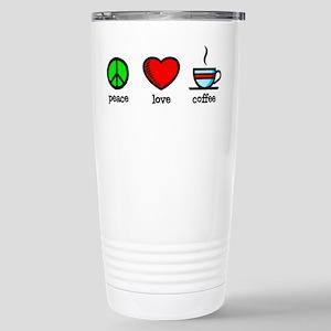 Peace, Love and Coffee Stainless Steel Travel Mug