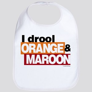 I Drool Orange and Maroon Bib