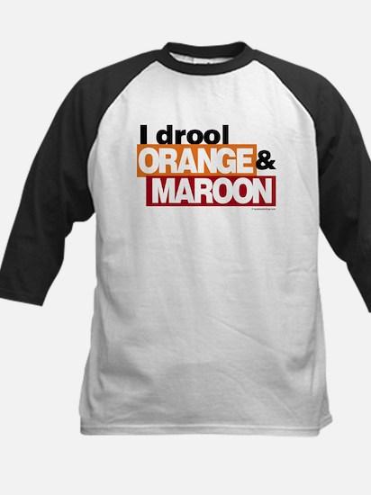 I Drool Orange and Maroon Kids Baseball Jersey