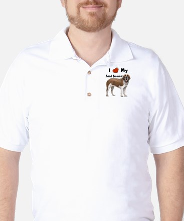 I Love My Saint Bernard Golf Shirt