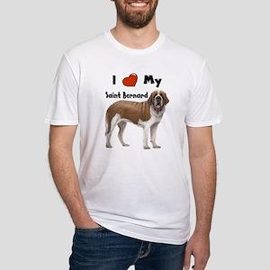 I Love My Saint Bernard Fitted T-Shirt
