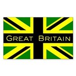 Black Union Jack Rectangle Sticker