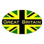 Black Union Jack Oval Sticker