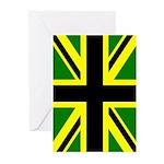 Black Union Jack Greeting Cards (Pk of 10)