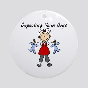 Expecting Twin Boys Ornament (Round)