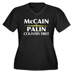 McCain Palin Country First Women's Plus Size V-Nec