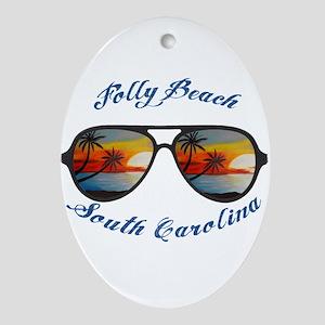 South Carolina - Folly Beach Oval Ornament