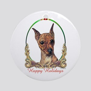 Red Min Pin Happy Holidays Ornament (Round)