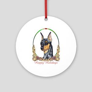 Min Pin Happy Holidays Ornament (Round)