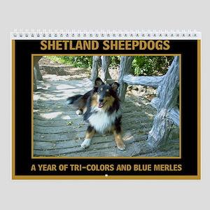 Tri and Blue Merle Sheltie Wall Calendar