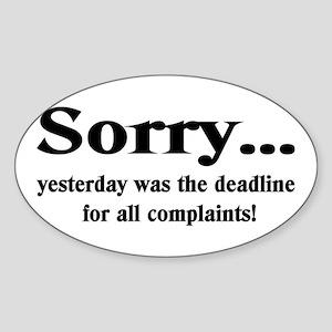 Sorry Oval Sticker