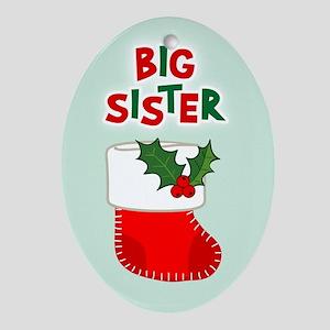 Big Sister Christmas Stocking Oval Ornament