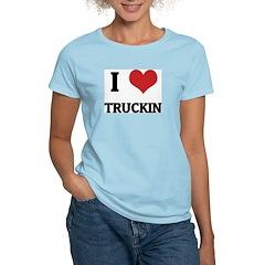 I Love Truckin Women's Pink T-Shirt