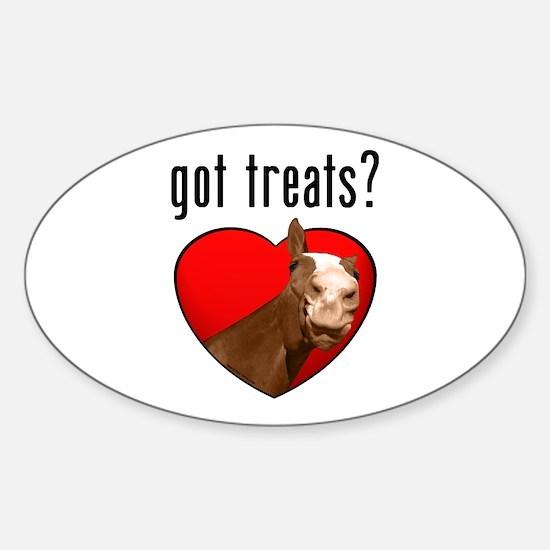 Got Treats? Cute Horse Oval Decal