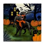 FLAT COATED RETRIEVER DOG HALLOWEEN Tile Coaster