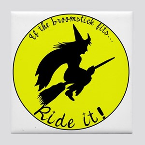 Witch BroomStick Moon Tile Coaster