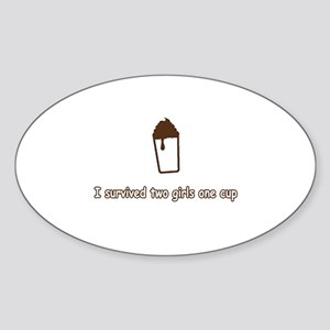 2 Girls and 1 Cup Oval Sticker