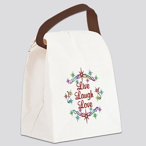 Live Laugh Love Stars Canvas Lunch Bag