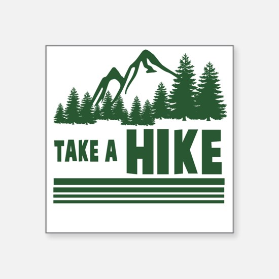"Cute Funny hiking Square Sticker 3"" x 3"""