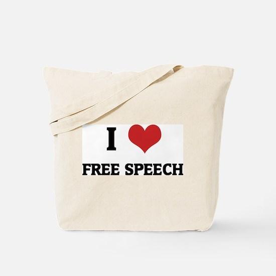 I Love Free Speech Tote Bag