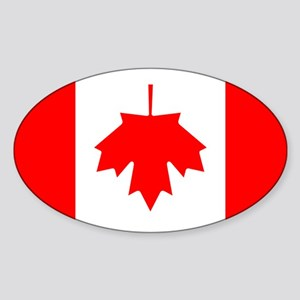 Inverted Canadian Flag Oval Sticker