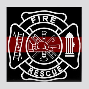 Firefighter Thin Red Line Tile Coaster