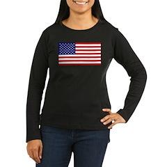 American Flag Women's Long Sleeve Dark T-Shirt