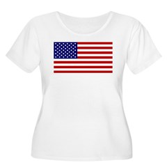 American Flag Women's Plus Size Scoop Neck T-Shirt