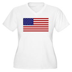 American Flag Women's Plus Size V-Neck T-Shirt