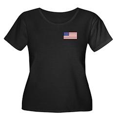 American Flag Women's Plus Size Scoop Neck Dark T-