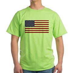 American Flag Green T-Shirt