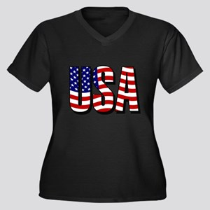 U.S.A. Women's Plus Size V-Neck Dark T-Shirt