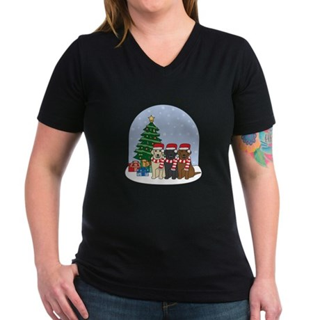 Christmas Lab Women's V-Neck Dark T-Shirt