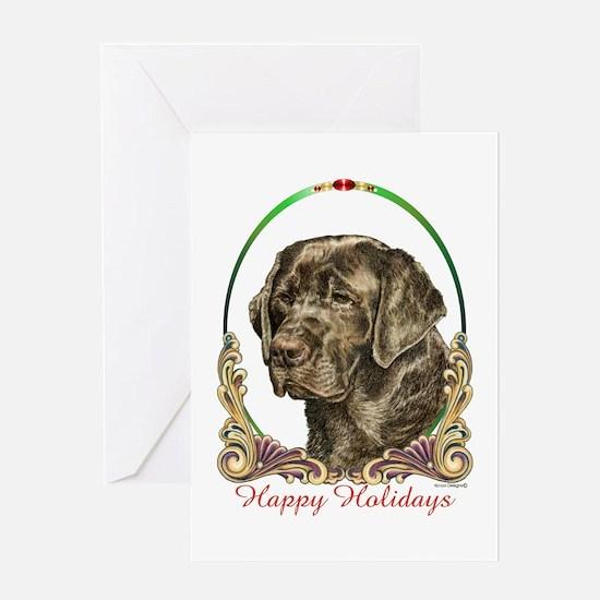 Chocolate Lab Happy Holidays Greeting Card
