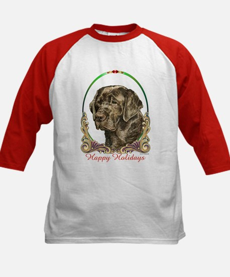Chocolate Lab Happy Holidays Kids Baseball Jersey