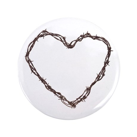 """Barbed Wired Heart 3.5"""" Button"""