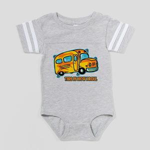 How I Roll School Bus Baby Football Bodysuit