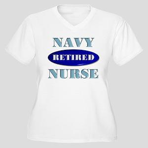Retired Navy Women's Plus Size V-Neck T-Shirt