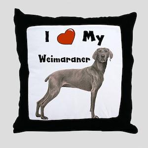 I Love My Weimaraner Throw Pillow