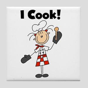 Female Chef I Cook Tile Coaster