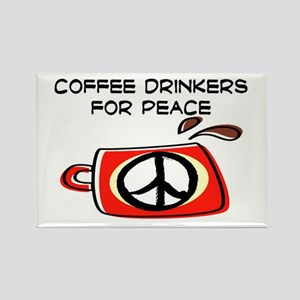 COFFEE DRINKERS FOR PEACE Rectangle Magnet